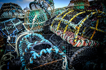 Close-up Of Fishing Net At Harbor