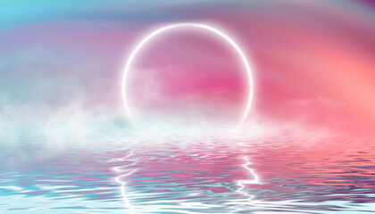 Fotomurales - Reflection in the water, colorful sunset. Abstract futuristic background. Neon glow, reflection of tropical beach beach tent. 3d illustration