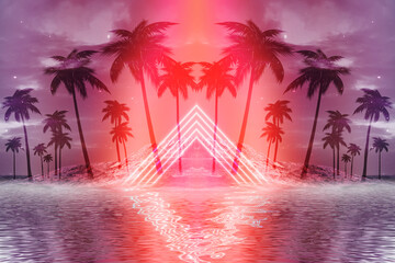Fotomurales - Abstract futuristic background. Neon glow, reflection of tropical palm trees on the water. Night view, beach party. 3d illustration