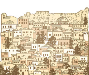 Old Middle Eastern city, places, streets, houses, domes and towers. Typical Islamic town. Drawn by hand. Texture and background