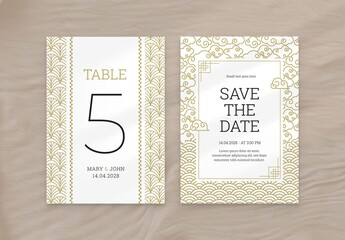Gold Wedding Flyer with Asian Illustrations