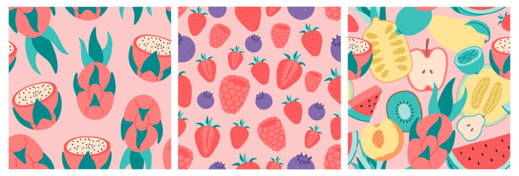 Hand drawn tropical fruits and berries. Exotic set of three isolated seamless pattern on pink background.