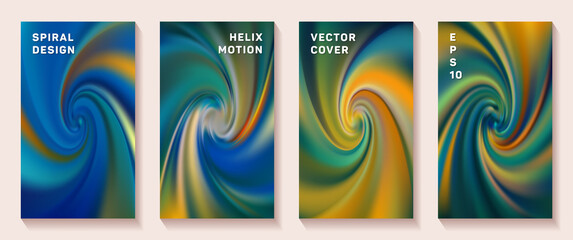 Gradient spiral rotation cover page templates set.