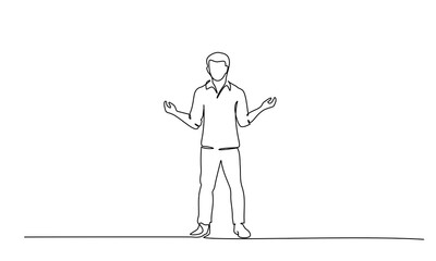 Young man standing surprised. One line drawing