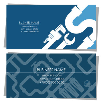 Plumbing repair and service business card concept