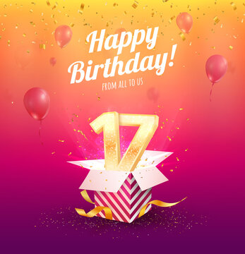 Celebrating 17 th years birthday vector illustration. Seventeen-anniversary celebration. Teen birth day. Open gift box with numbers three and eight flying on balloons
