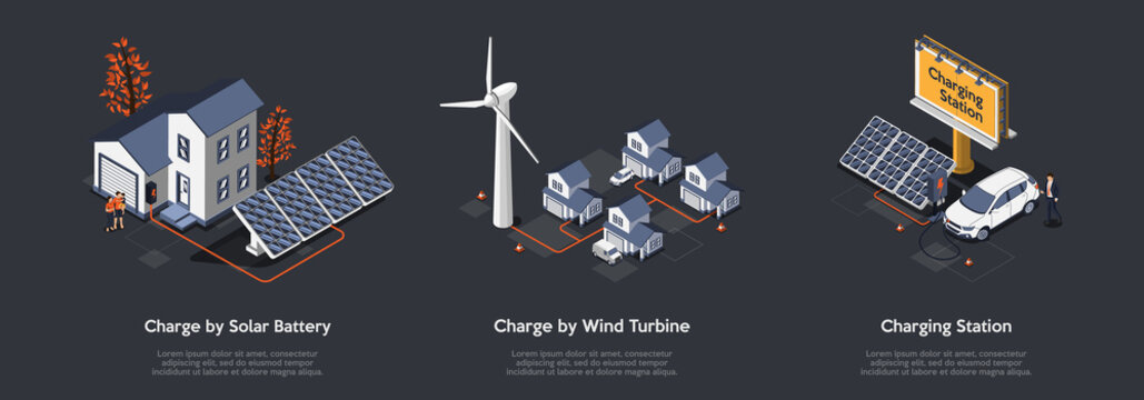 Concept Of Eco City. People Use Alternative Energy Sources. Friendly Renewable Energy Saving. Solar Panels, Windmill Turbines For Home Produce Energy And Charge Cars. Isometric 3D Vector Illustration