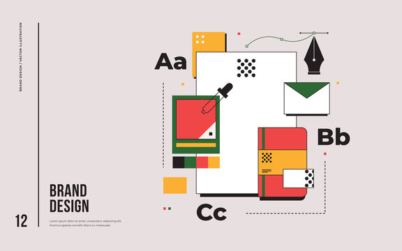 Branding design development concept. Elements of corporate style. Notepad, blank, envelope. Trendy vector flat illustration.