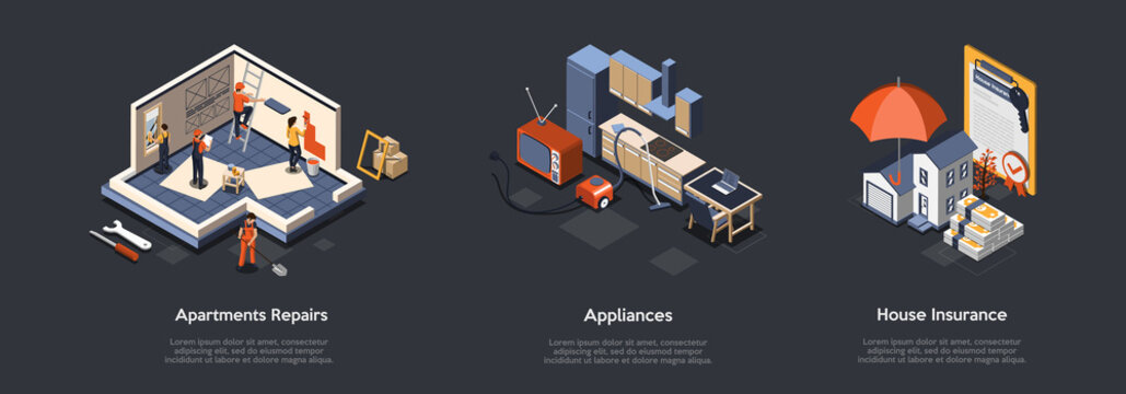 Concept Of Apartments Repairs, Home Appliances And House Insurance. Characters Make Design And Repairs Of Home Interiors, Buy Appliances And Real Estate Insurance. Isometric 3D Vector Illustration