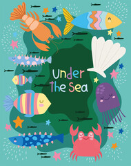 under the sea, world with different inhabitants wide marine life landscape cartoon