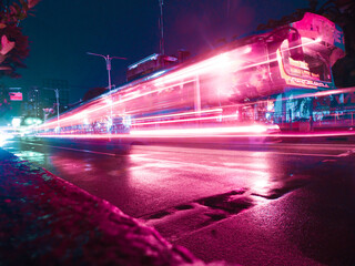 Fotomurales - Light Trails On Road At Night