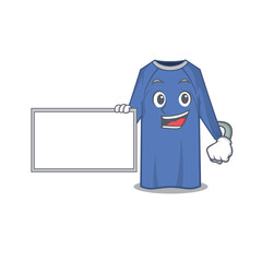 Wall Mural - Cartoon character design of disposable clothes holding a board