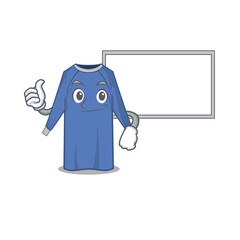 Wall Mural - disposable clothes cartoon design with Thumbs up finger bring a white board