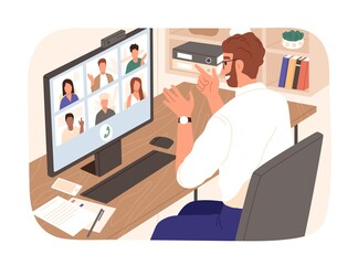 Fotobehang Hoogte schaal Bearded smiling guy talking with colleagues during videoconference vector illustration. People having corporate video call isolated. Man and woman discussing work enjoying online communication