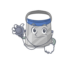 Wall Mural - Smiley doctor cartoon character of face shield with tools