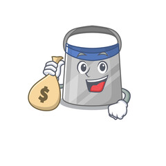 Wall Mural - Crazy rich face shield mascot design having money bags