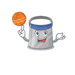 Wall Mural - Sporty cartoon mascot design of face shield with basketball