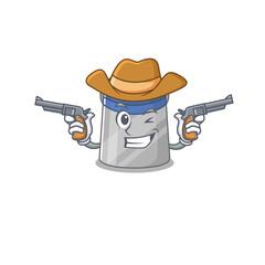 Wall Mural - Cartoon character cowboy of face shield with guns