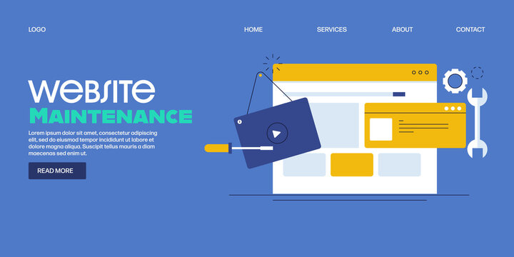 Website maintenance, system update, bug fixing, website under construction , web development, network administrator concept. Flat design web banner template.