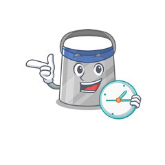 Wall Mural - mascot design style of face shield standing with holding a clock