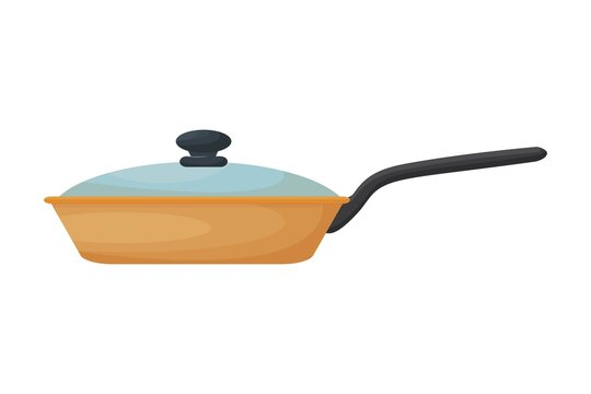 Frying pan closed, front view, colorful, shyness object isolated on white background stock vector illustration