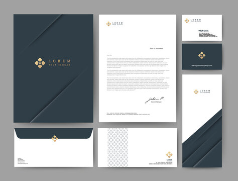 Branding identity template corporate company design, Set for business hotel, resort, spa, luxury premium logo, Blue color, vector illustration