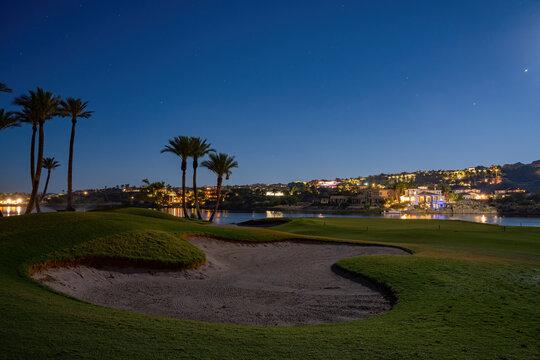 Night view of some beautiful residence house at Lake Las Vegas
