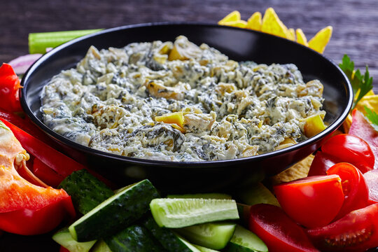 close-up of Spinach Artichoke cheese Dip bowl