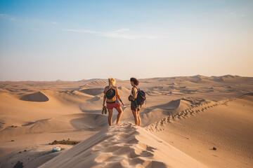 Photo sur Plexiglas Amérique du Sud Rear View Of Friends Walking On Sand Dune