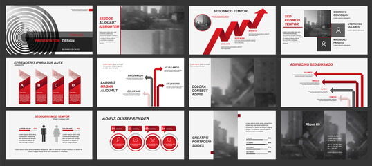 Elements of infographics for presentations templates. Leaflet, Annual report, book cover design. Brochure, layout, Flyer layout template design. Vector red Illustration.