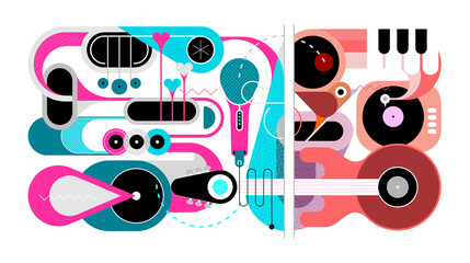 Wall Murals Abstract Art Abstract music background. Flat design of various musical instruments and singing bird, vector illustration. Acoustic guitar, saxophones, piano keys, trumpets, microphone and gramophone.