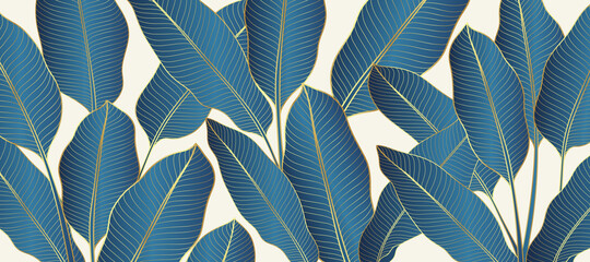 Luxury gold and nature line art ink drawing background vector. Botanical leaves, Canna leaves, banana leaf, and Floral pattern  vector illustration.