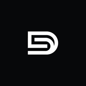Minimal elegant monogram art logo. Outstanding professional trendy awesome artistic D DD SD DS initial based Alphabet icon logo. Premium Business logo white color on black background