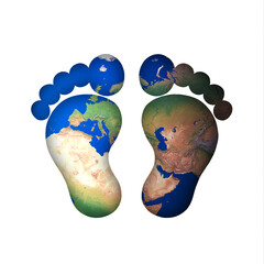 Symbol Füße Fuß Fußsohlen Schritte Fußtapsen barfuß stehen Erde gehen laufen wandern welt karte blau grün hell globetrotter global fußabdruck weltweit kind junge boy barefeet barefoot earth hiking