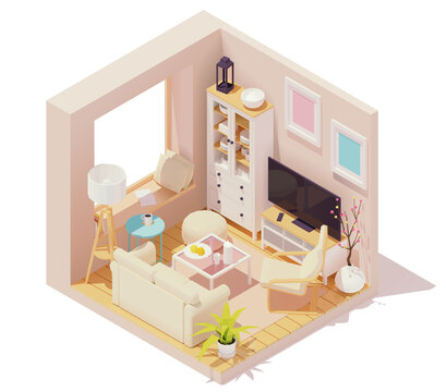 Vector isometric living room interior with sofa, coffee table, tv and stereo system speakers, floor lamp and windows with roman blinds