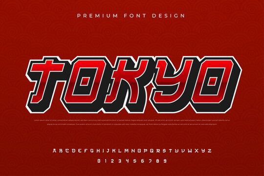 abstract urban alphabet font with modern and japanese culture style use for logo and brand