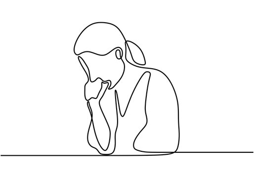 A young woman coughing. Continuous one line drawing with minimalist design isolated in one white background.