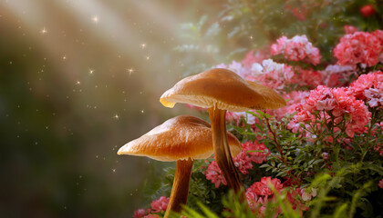 Magical fantasy mushrooms in enchanted fairy tale dreamy elf forest with fabulous fairytale blooming pink rose flower garden on mysterious background and shiny glowing stars and sun rays in morning