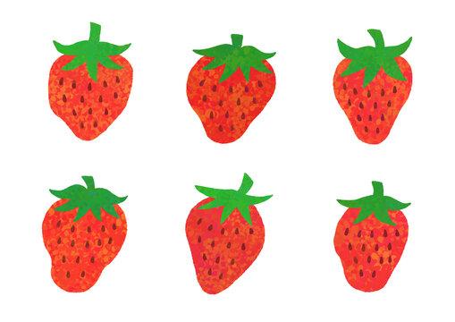 いちご イチゴ 苺 テクスチャ 絵の具 水彩 ベクター イラスト