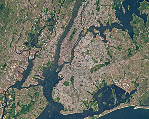 Satellite image of New York in summer
