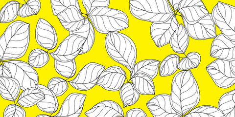 Luxury gold and nature line art ink drawing background vector. Tropical Leaves and Floral pattern vector illustration.