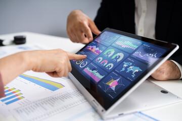 Fotobehang Graffiti collage Financial Analyst Using Convertible Laptop Screen