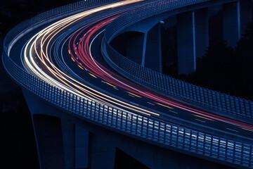 Fotomurales - Light Trails On Bridge At Night