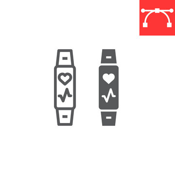 Fitness tracker line and glyph icon, fitness and sport, fitness band sign vector graphics, editable stroke linear icon, eps 10.