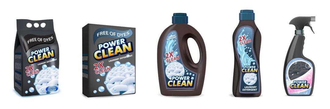 Black laundry detergent pack mockup set, vector illustration isolated on white background. Washing powder plastic bag, cardboard box and liquid laundry detergent plastic bottles.