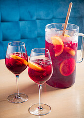 cold sangria with fresh fruits and berries