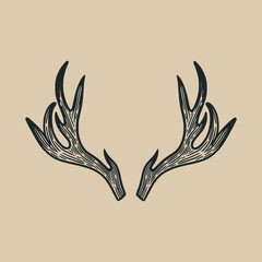 deer antlers classic vintage illustration design element