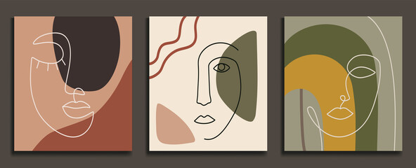 Abstract backgrounds with minimal shapes and line art faces. Esp10 vector templates.