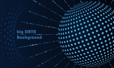 big data concept with globe and dots blue colors Fotobehang