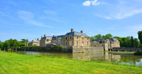 La Ferte Saint Aubin, France, 05-28-2017 beautiful historical castle ensemble panorama